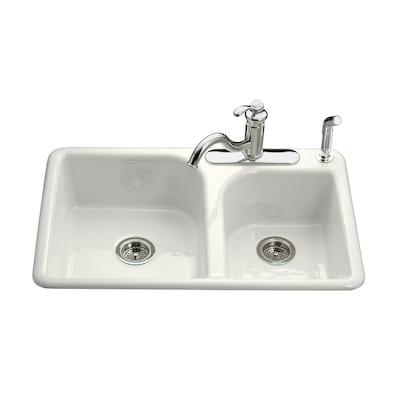 Efficiency Double-Basin Drop-in Enameled Cast Iron Kitchen Sink