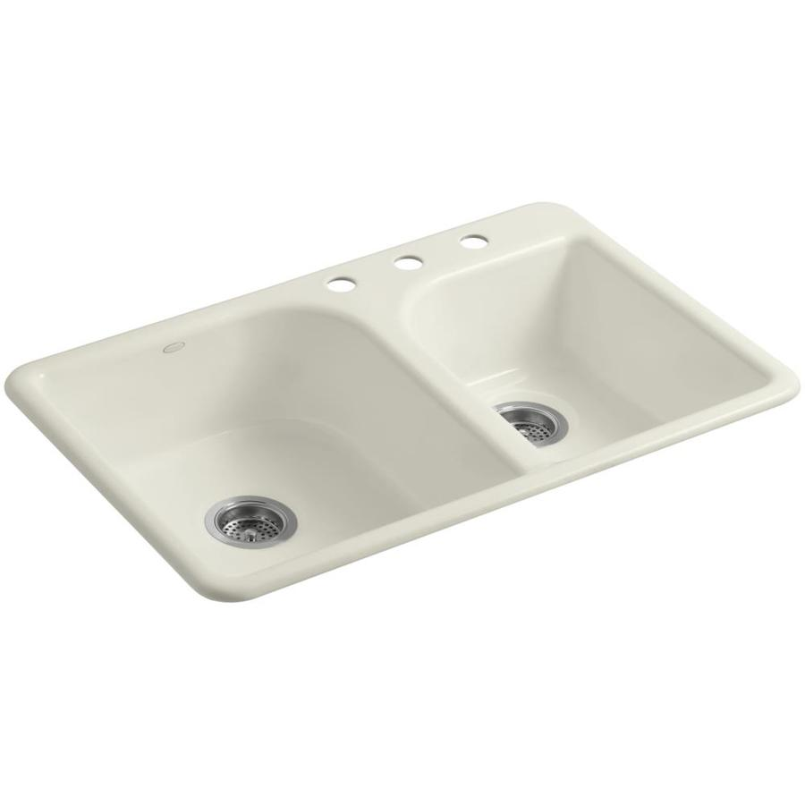 KOHLER Efficiency 22-in x 33-in Biscuit Double-Basin Cast Iron Drop-In 3-Hole Residential Kitchen Sink