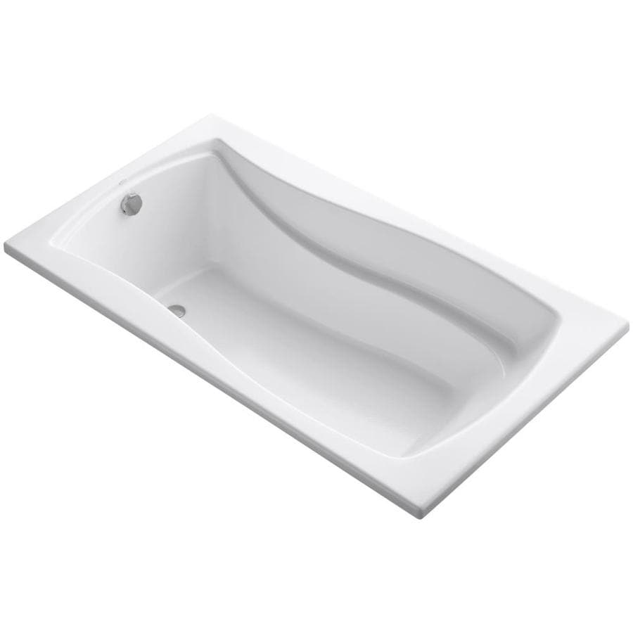 KOHLER Mariposa White Acrylic Hourglass In Rectangle Drop-in Bathtub with Reversible Drain (Common: 36-in x 66-in; Actual: 20-in x 36-in x 66-in)