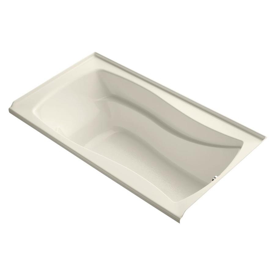 KOHLER Mariposa Almond Acrylic Hourglass In Rectangle Drop-in Bathtub with Right-Hand Drain (Common: 36-in x 66-in; Actual: 20-in x 36-in x 66-in)