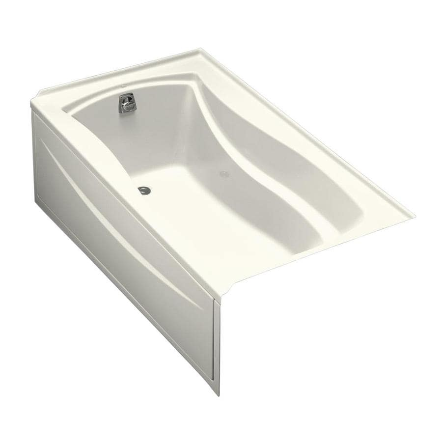 KOHLER Mariposa Biscuit Acrylic Hourglass In Rectangle Drop-in Bathtub with Left-Hand Drain (Common: 36-in x 66-in; Actual: 20-in x 36-in x 66-in)