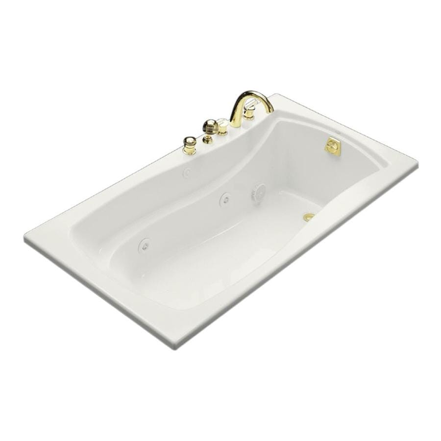 KOHLER Mariposa White Acrylic Rectangular Whirlpool Tub (Common: 36-in x 66-in; Actual: 20-in x 35.875-in x 66-in)