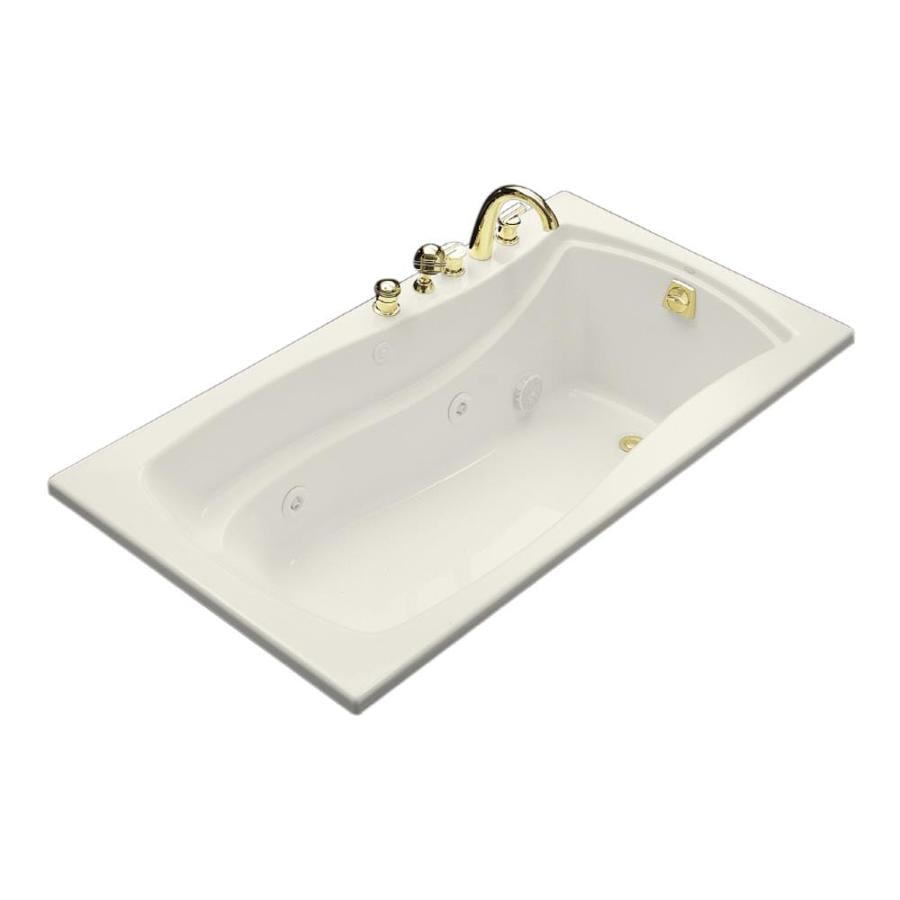 KOHLER Mariposa 66-in Biscuit Acrylic Drop-In Whirlpool Tub with Reversible Drain