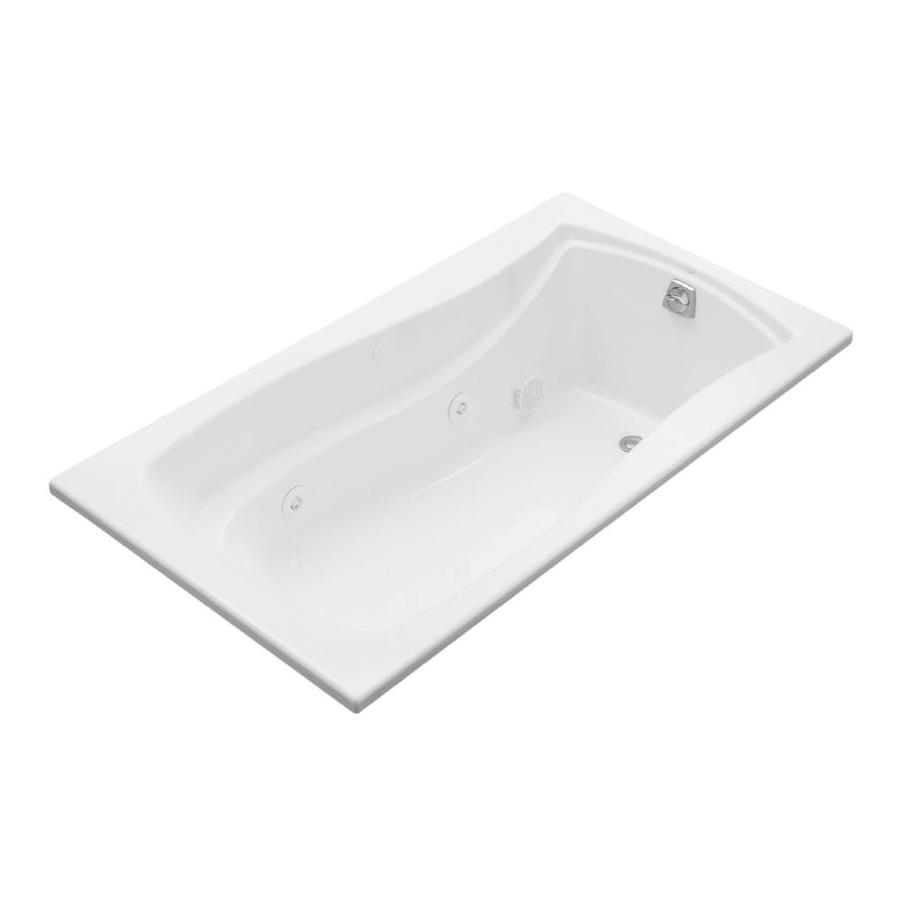 KOHLER Mariposa 66-in White Acrylic Drop-In Whirlpool Tub with Right-Hand Drain