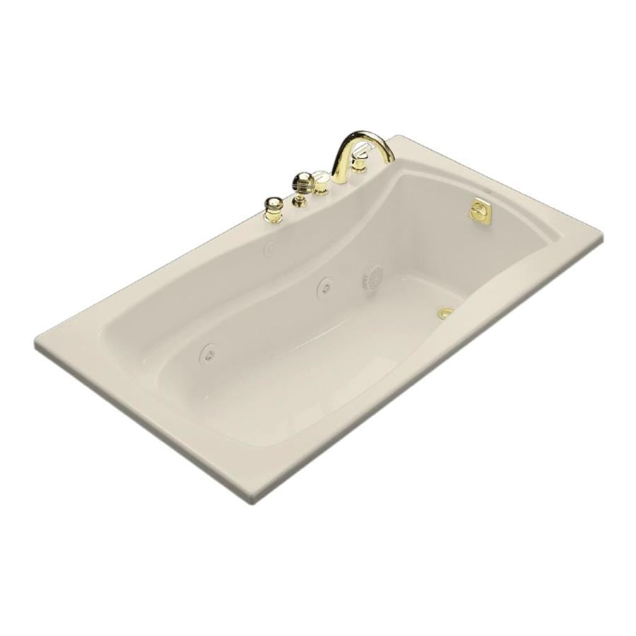 KOHLER Mariposa 66-in Almond Acrylic Drop-In Whirlpool Tub with Right-Hand Drain