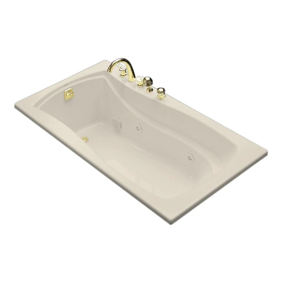 KOHLER Mariposa 66-in Almond Acrylic Drop-In Whirlpool Tub with Left-Hand Drain