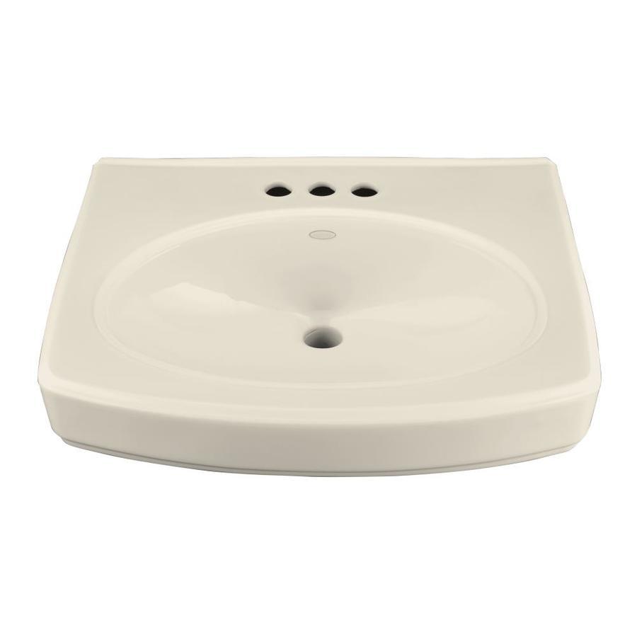 KOHLER Pinoir 22-in L x 18-in W Almond Vitreous China Rectangular Pedestal Sink Top