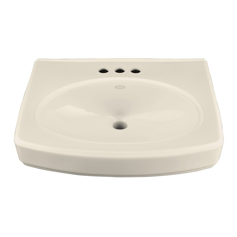 KOHLER Pinoir 22-in L x 18-in W Almond Vitreous China Rectangular Pedestal Sink Top