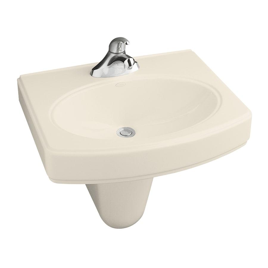 KOHLER Pinoir 34-in H Almond Vitreous China Pedestal Sink