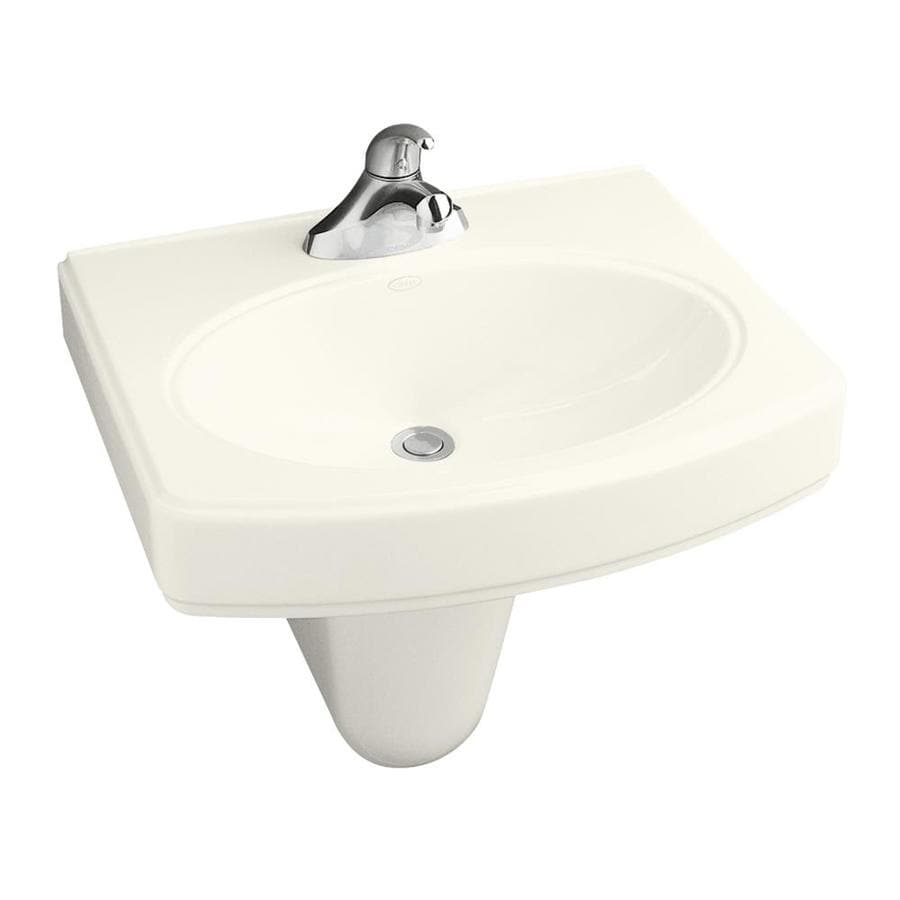 KOHLER Pinoir 34-in H Biscuit Vitreous China Pedestal Sink