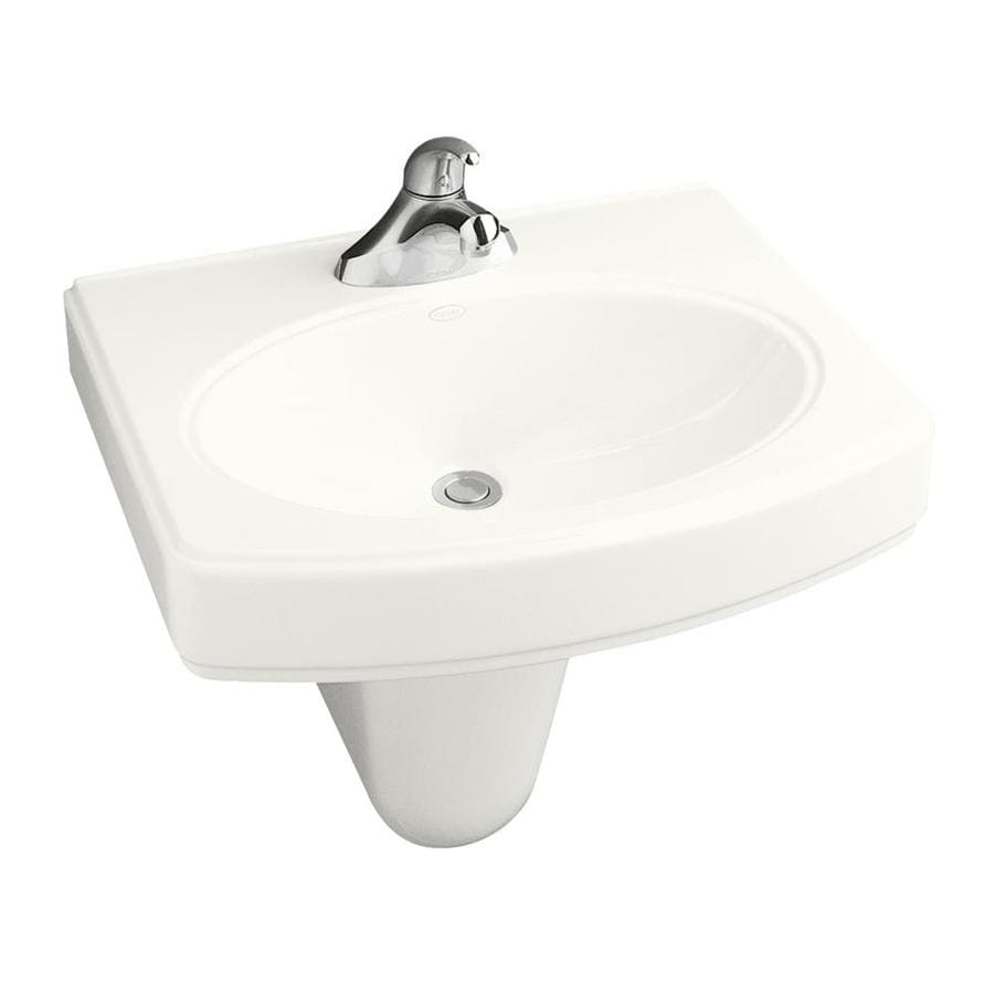 Shop KOHLER Pinoir 34-in H White Vitreous China Pedestal Sink at Lowes ...