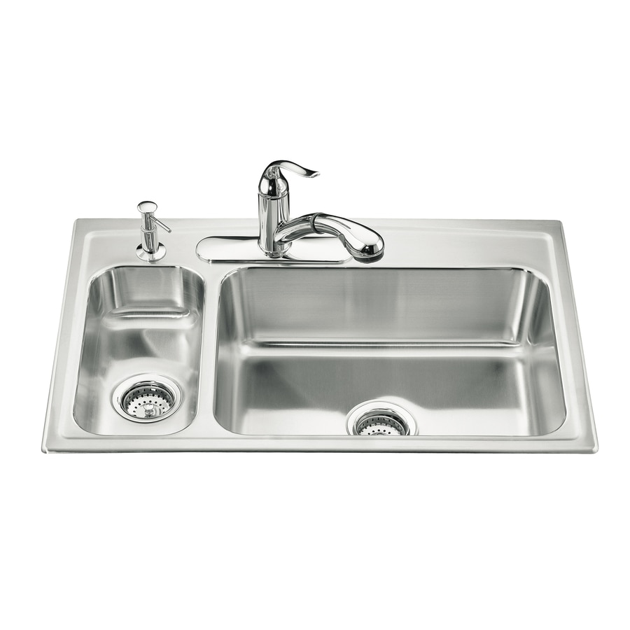 KOHLER Toccata 22-in x 33-in Double-Basin Stainless Steel Drop-in 3-Hole Residential Kitchen Sink