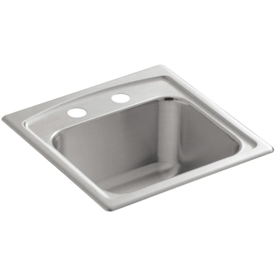 Shop KOHLER Toccata Stainless Steel 2-Hole Stainless Steel Drop-in ...