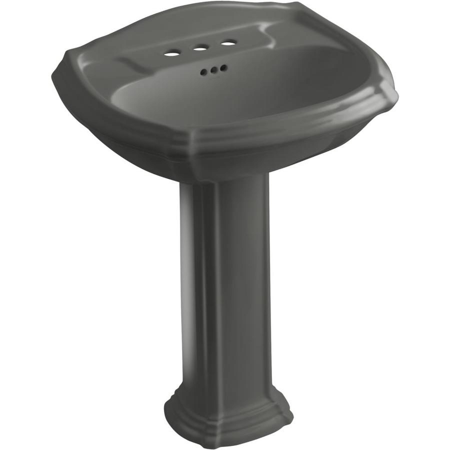 KOHLER Portrait 36.5-in H Thunder Grey Vitreous China Pedestal Sink