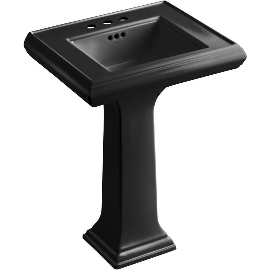 KOHLER Memoirs 34.38-in H Black Fire Clay Pedestal Sink