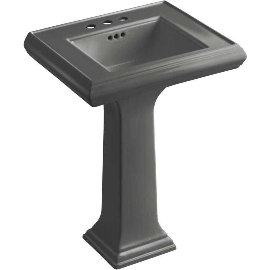 KOHLER Memoirs 34.38-in H Thunder Grey Fire Clay Pedestal Sink