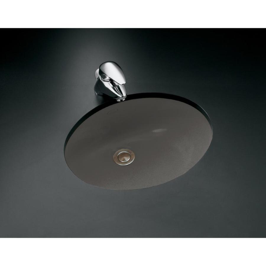 KOHLER Caxton Thunder Grey Undermount Oval Bathroom Sink with Overflow