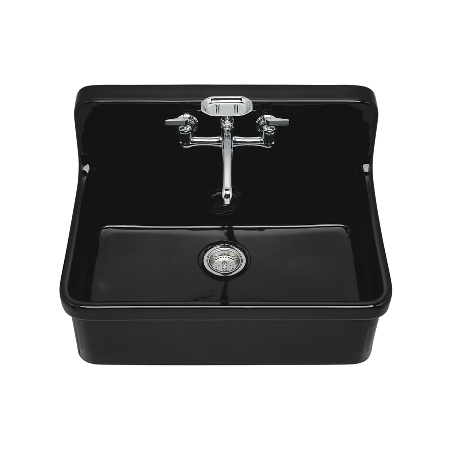 KOHLER Gilford 22-in x 30-in Black Single-Basin Porcelain Drop-in 2-Hole Residential Kitchen Sink