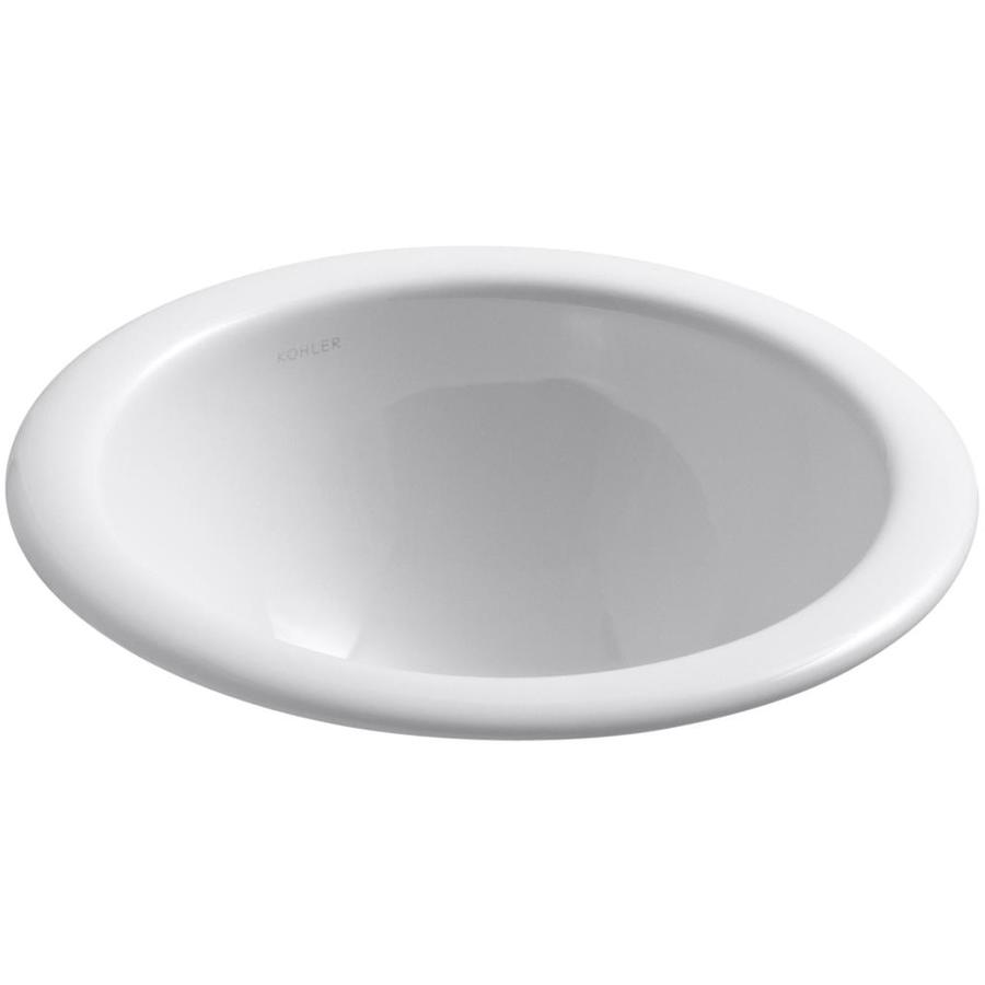 KOHLER Compass White Drop-in Round Bathroom Sink