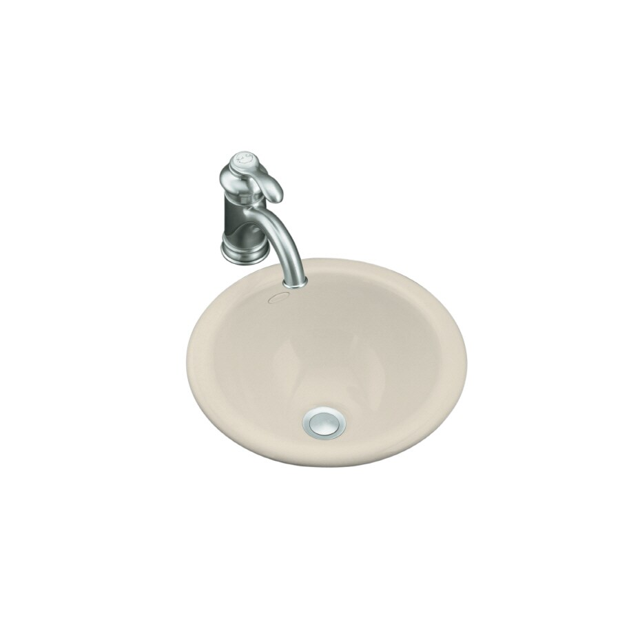 KOHLER Compass Almond Drop-in or Undermount Round Bathroom Sink