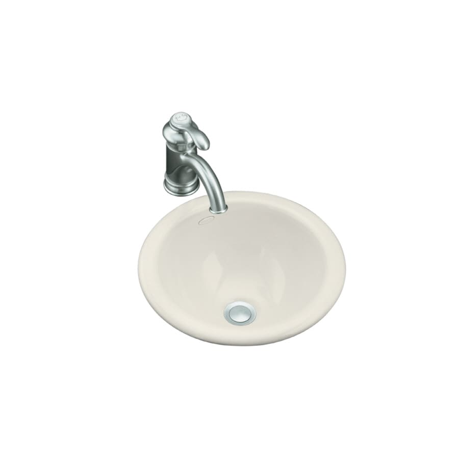 shop kohler compass biscuit drop in or undermount round