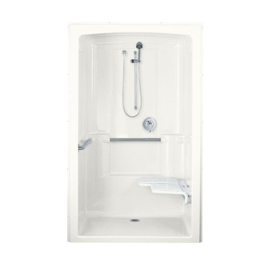 KOHLER Freewill White Acrylic One-Piece Shower with Integrated Seat (Common: 38-in x 52-in; Actual: 84-in x 37.5-in x 52-in)