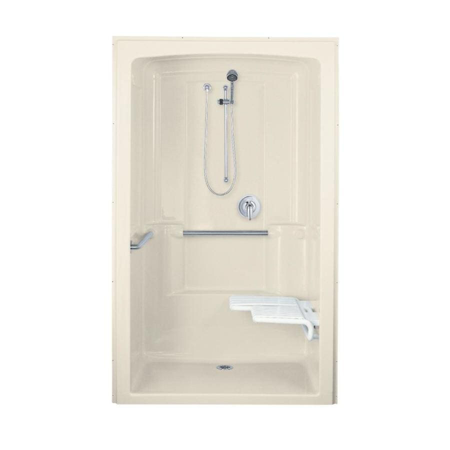 KOHLER Freewill Almond Acrylic One-Piece Shower Integrated Seat (Common: 38-in x 52-in; Actual: 84-in x 37.5-in x 52-in)