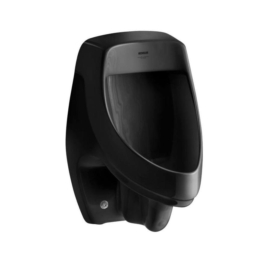KOHLER 13.5-in W x 20.375-in H Black Black Wall-Mounted Urinal