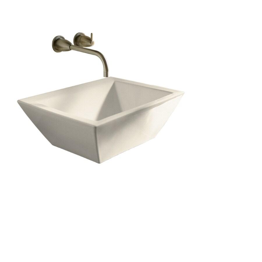 shop kohler bateau almond vessel square bathroom sink at
