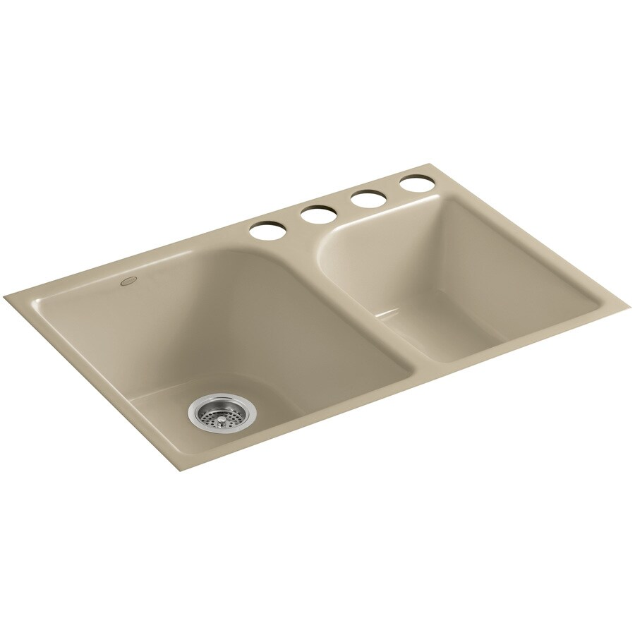 KOHLER Executive Chef 22-in x 33-in Mexican Sand Single-Basin-Basin Cast Iron Undermount 4-Hole Residential Kitchen Sink