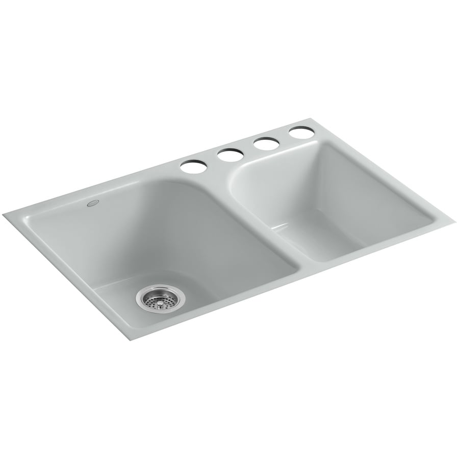 KOHLER Executive Chef 22-in x 33-in Ice Grey Double-Basin Cast Iron Undermount 4-Hole Residential Kitchen Sink
