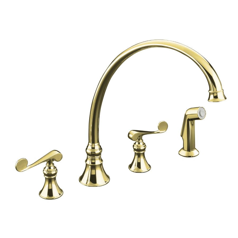 KOHLER Revival Vibrant Polished Brass 2-Handle High-Arc Kitchen Faucet with Side Spray