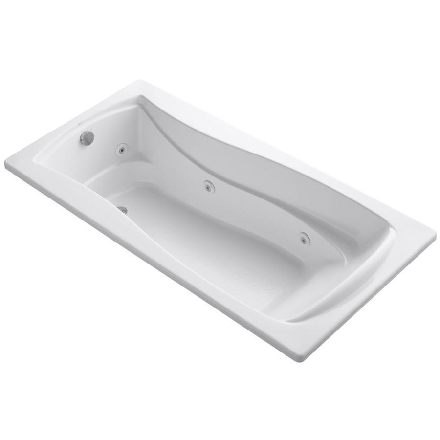 KOHLER Mariposa 72-in White Acrylic Drop-In Whirlpool Tub with Reversible Drain