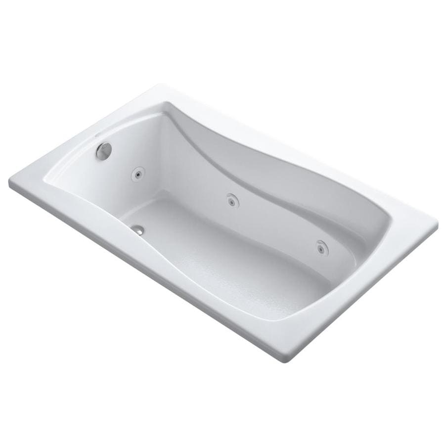 KOHLER Mariposa 60-in White Acrylic Drop-In Whirlpool Tub with Reversible Drain