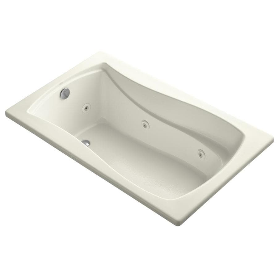 KOHLER Mariposa Biscuit Acrylic Hourglass In Rectangle Whirlpool Tub (Common: 36-in x 60-in; Actual: 20-in x 36-in x 60-in)