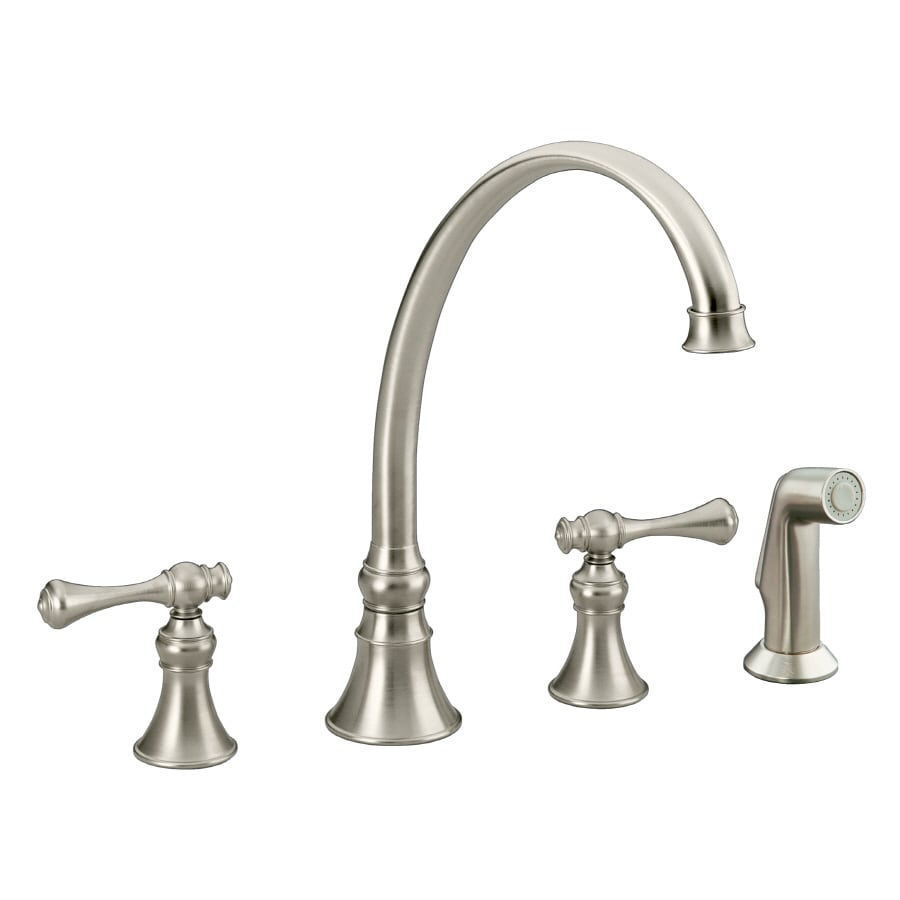 kohler kitchen sink faucet parts shop kohler revival vibrant brushed nickel 2 handle high 8815