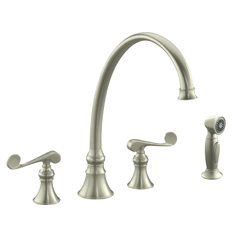 KOHLER Revival Vibrant Brushed Nickel 2-Handle High-Arc Kitchen Faucet with Side Spray