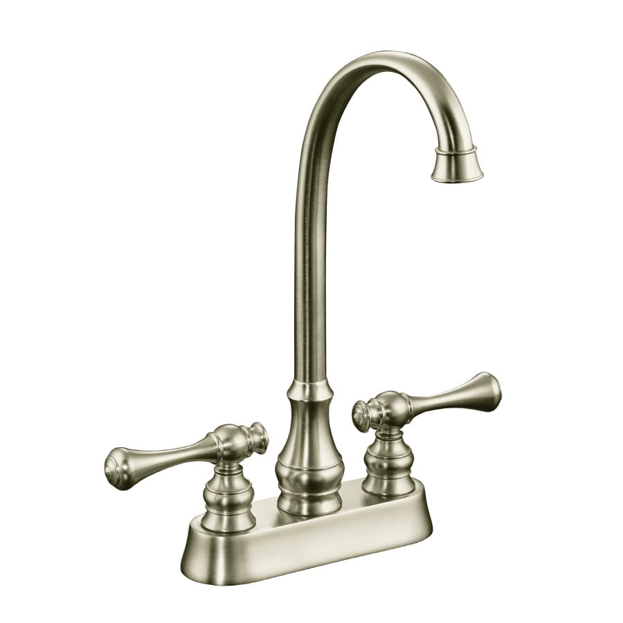 KOHLER Revival Vibrant Brushed Nickel 2-Handle Bar and Prep Faucet