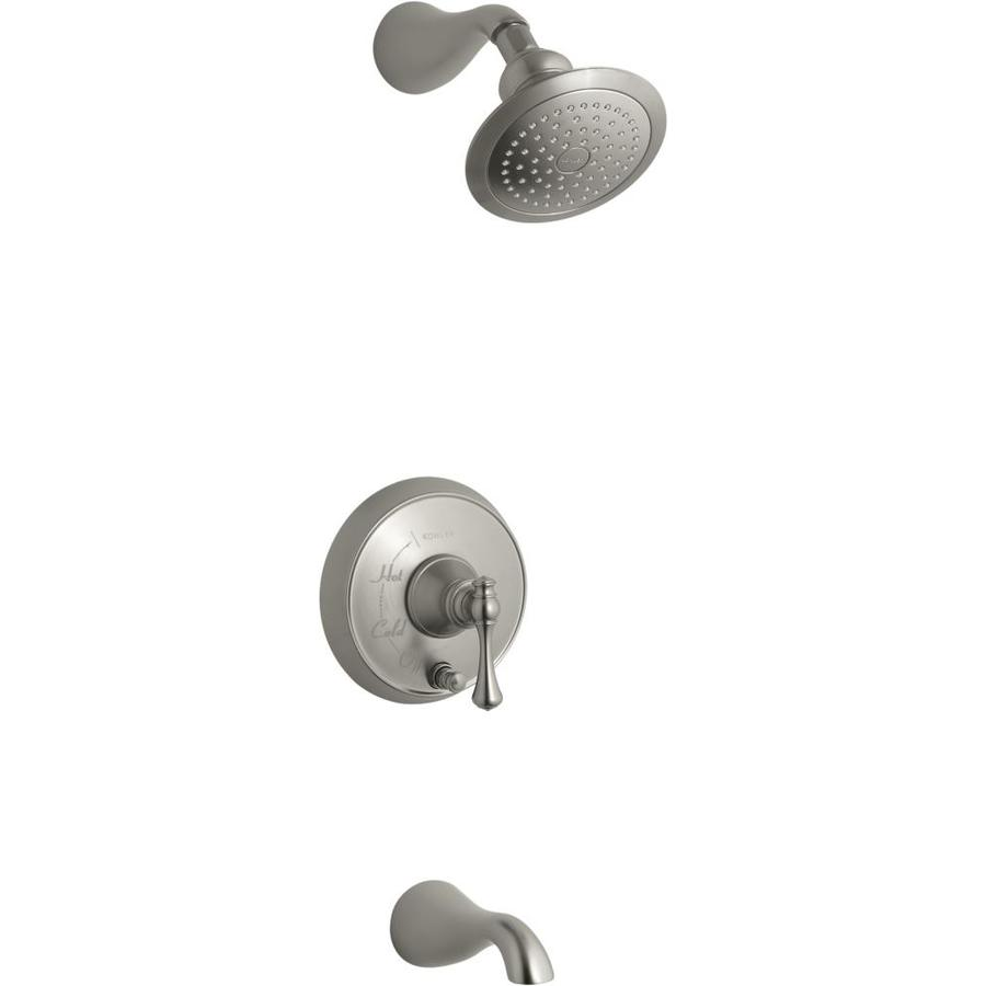 KOHLER Revival Vibrant Brushed Nickel 1-Handle Bathtub and Shower Faucet Trim Kit with Single Function Showerhead