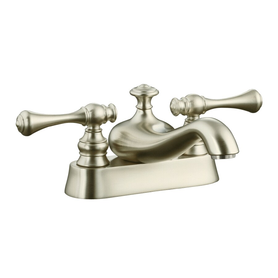 KOHLER Revival Vibrant Brushed Nickel 2-Handle 4-in Centerset WaterSense Bathroom Faucet (Drain Included)