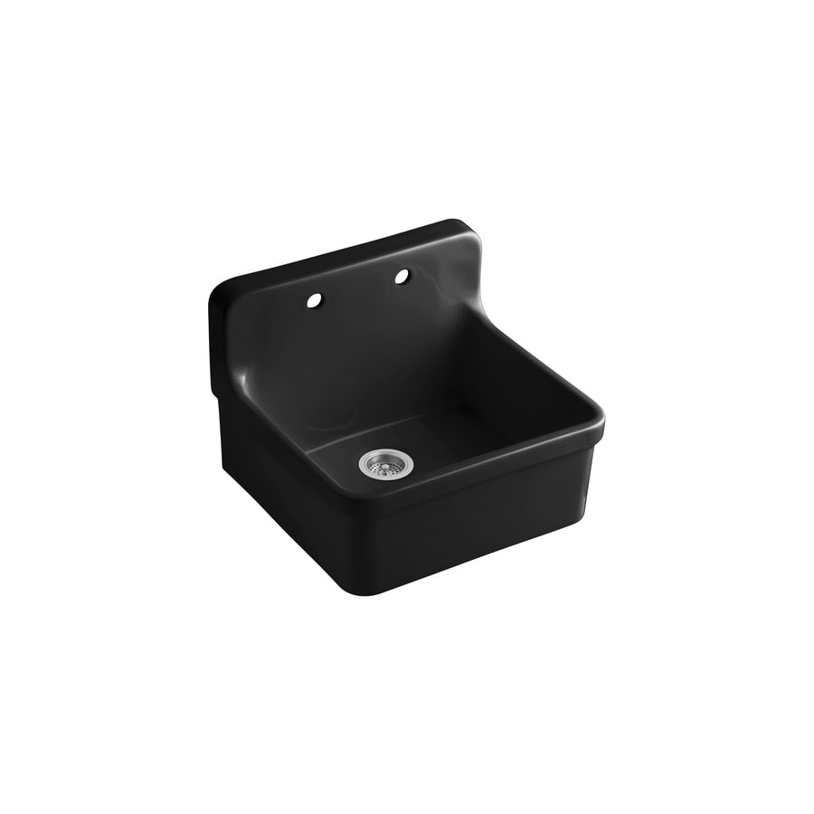KOHLER Gilford 22.0000-in x 24.0000-in Black Single-Basin Porcelain Drop-in Residential Kitchen Sink