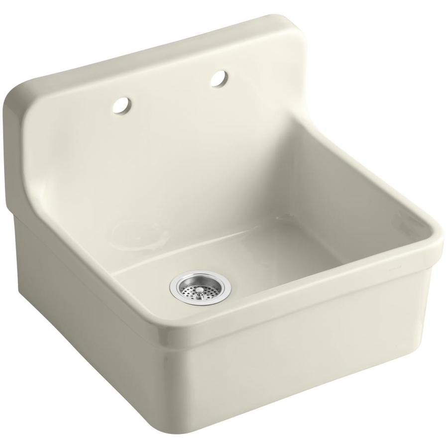 Kohler Gilford 22 In X 24 Almond Single Basin Porcelain Drop Residential Kitchen Sink