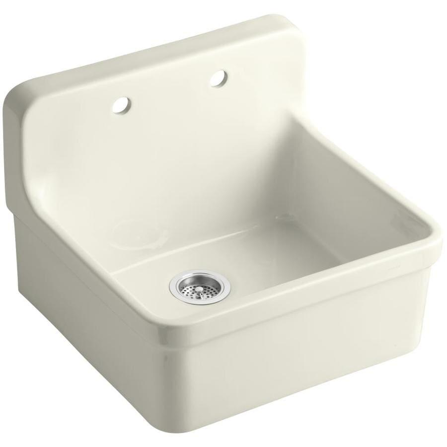 KOHLER Gilford 22-in x 24-in Biscuit Single-Basin Porcelain Drop-in Residential Kitchen Sink