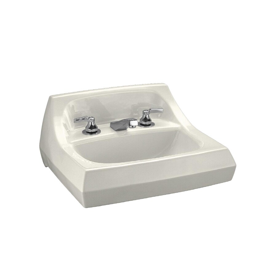KOHLER Kingston Biscuit Fire Clay Wall-Mount Rectangular Bathroom Sink with Overflow