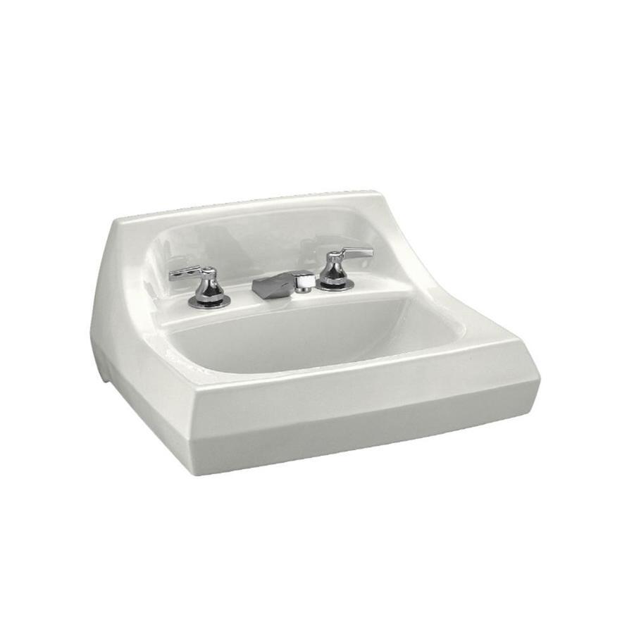 KOHLER Kingston White Wall-Mount Rectangular Bathroom Sink with Overflow