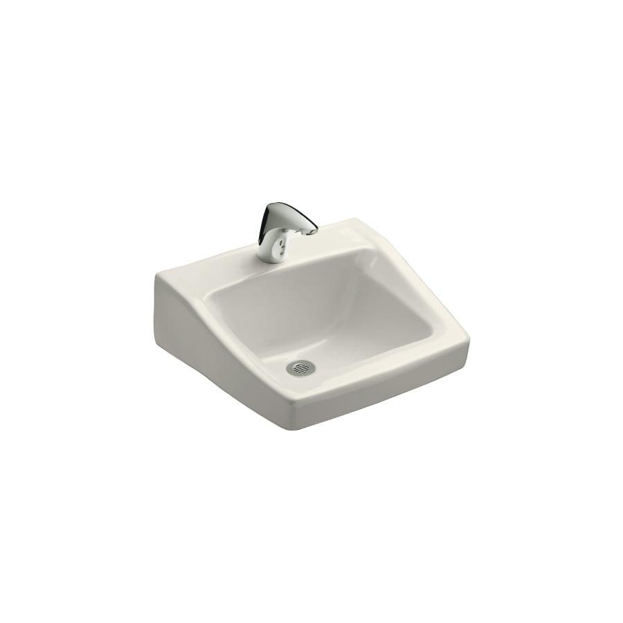 KOHLER Chesapeake Biscuit Wall-Mount Rectangular Bathroom Sink with Overflow