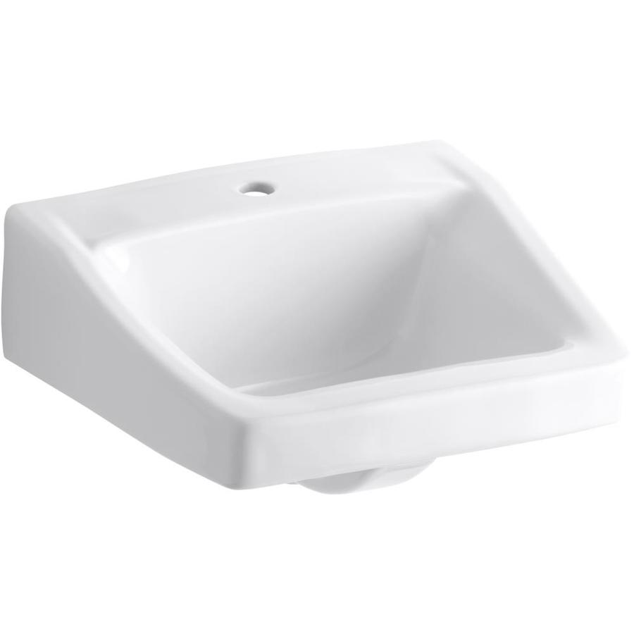KOHLER Chesapeake White Wall-Mount Rectangular Bathroom Sink with Overflow