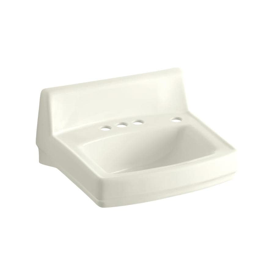 KOHLER Greenwich Biscuit Wall-Mount Rectangular Bathroom Sink with Overflow