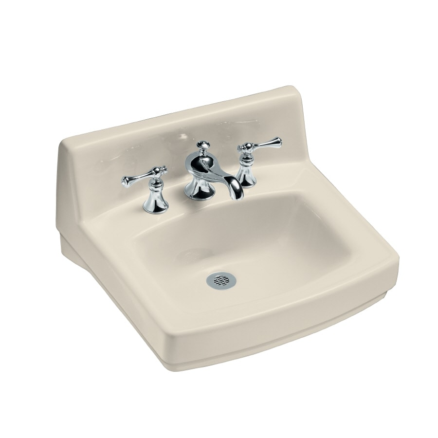 KOHLER Greenwich Almond Wall-Mount Rectangular Bathroom Sink with Overflow