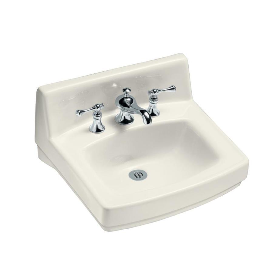 KOHLER Greenwich Biscuit Wall-Mount Rectangular Bathroom Sink with Overflow